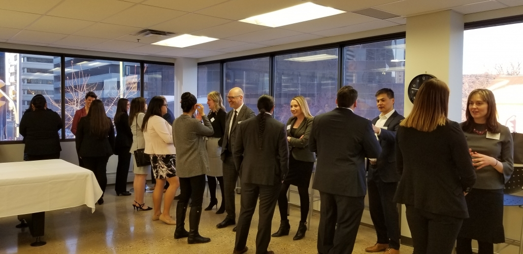 Lawyers networking in LSM lunch room